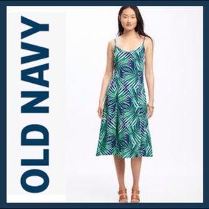 NWT Palm Print Fit & Flare Midi Dress
